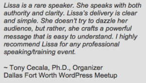Lissa Duty Speaker Testimonial from Tony Cecala