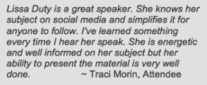 Lissa Duty Speaker Testimonial from Traci Morin