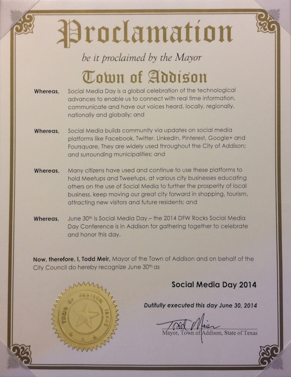 Addison Social Media Day Proclamation 2014, Dallas Social Media Conference